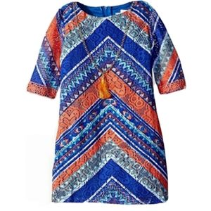 Rare Editions Boho Dress Size 5 Blue and Coral